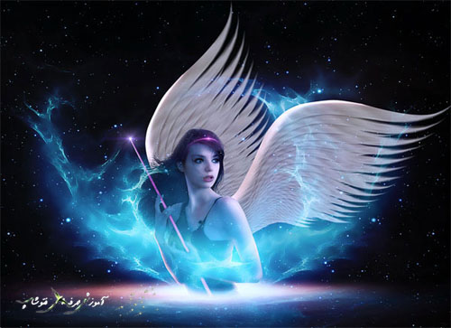 آموزش ساخت فرشته با بال های سفید و نورانی در فتوشاپ
